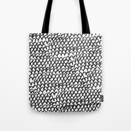 Hand painted monochrome waves pattern Tote Bag
