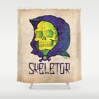 skeletor Shower Curtains featuring Old School Skeletor by Miguel Manrique