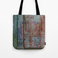 army Tote Bags featuring Robot army by Ale Ibanez