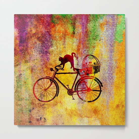 Cat and Bicycle Metal Print