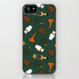 Whisky Pattern in Dark Green iPhone Case