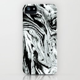 marble black and white minimal suminagashi japanese spilled ink abstract art iPhone Case