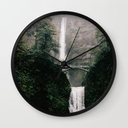 Multnomah Falls Waterfall in October - Landscape Photography Wall Clock