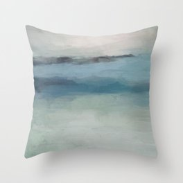 Abstract Painting, Light Blue, Teal, Sage Green Prints Modern Wall Art, Affordable Stylish Throw Pillow