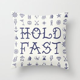 Uncle Knuckles - Hold Fast - Navy on Off White Throw Pillow