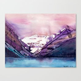 Coloful Lake Louise // Traditional watercolor painting Canvas Print