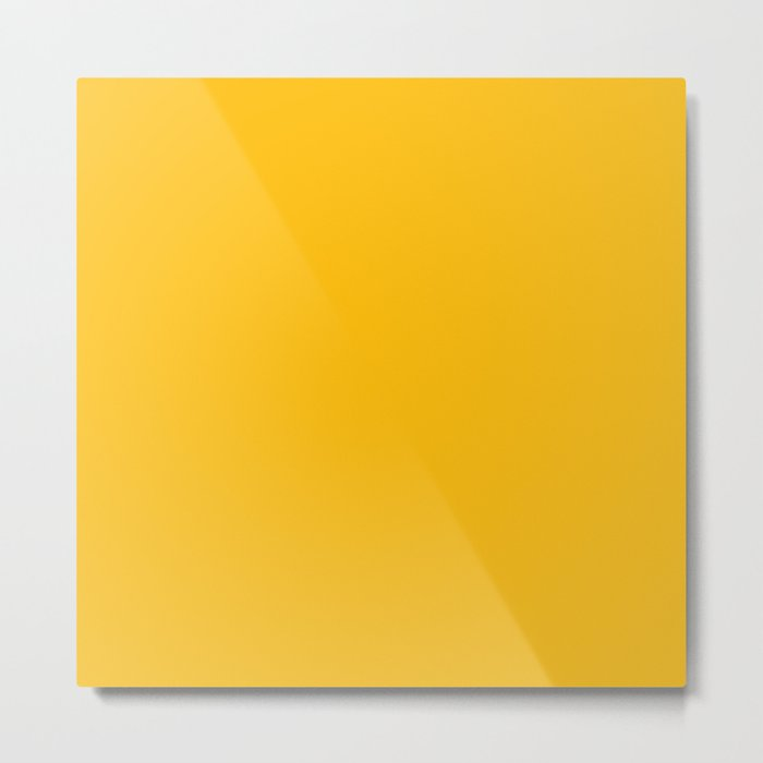 Amber Yellow Solid Color Metal Print