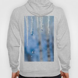 Icicles and drops in a birch grove Hoody