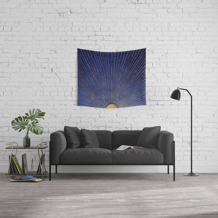 Twilight / Blue and Metallic Gold Palette Wall Tapestry