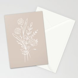 Wild Flowers Botanical Art, Simple Line drawing in Modern Light Mocha, Stationery Cards