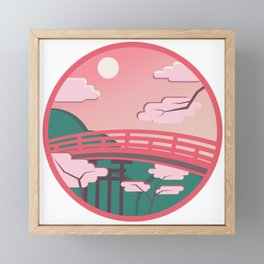 Japanese bridge in bright colors Framed Mini Art Print