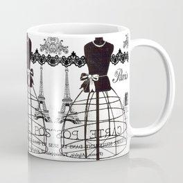 Vintage black white Paris French dress mannequin pattern Coffee Mug