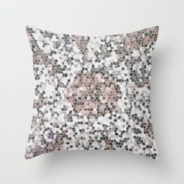Star Shaped Patchwork in White, Pink And Black Throw Pillow