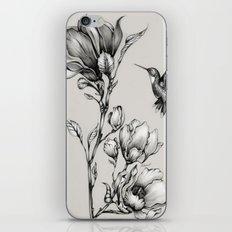 Magnolia Flower and Hummingbird iPhone Skin
