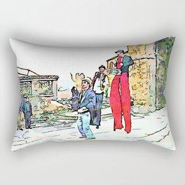 Barbarano Romano: three acrobats and two boys Rectangular Pillow