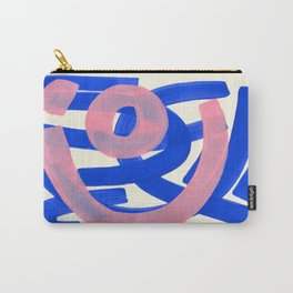 Tribal Pink Blue Fun Colorful Mid Century Modern Abstract Painting Shapes Pattern Carry-All Pouch
