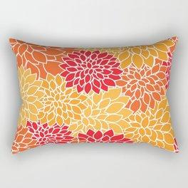 Dahlia Flowers, Petals, Blossoms - Orange Red Rectangular Pillow