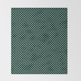 Black and Spearmint Polka Dots Throw Blanket