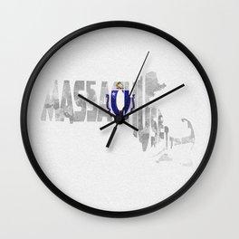 Massachusetts Typographic Flag Map Art Wall Clock