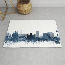 Liverpool Skyline Watercolor Navy Blue by Zouzounio Art Rug