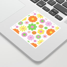 Vintage Daisy Crazy Floral Sticker