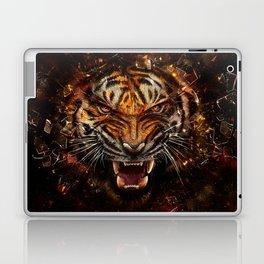 Angry Tiger Breaking Glass Yelow Laptop & iPad Skin