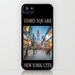 Times Square Sparkle (with type on black) iPhone Case