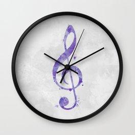 Violet Purple Watercolor Treble Clef Wall Clock