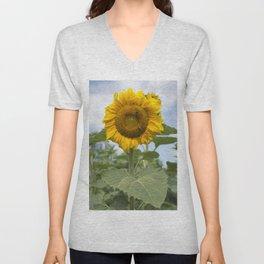 Full Face Sunflower Unisex V-Neck