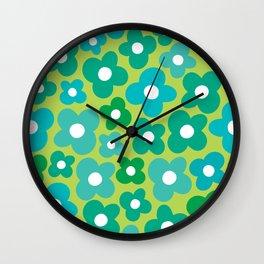 Lime Flower Power Wall Clock