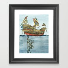Pirate Ship Print Framed Art Print