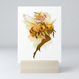 Fairy with two bees Mini Art Print