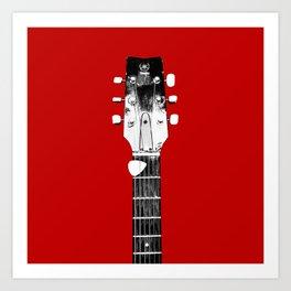 Guitar - Head, Red Background Art Print