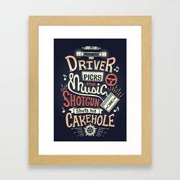 Driver picks the music Framed Art Print