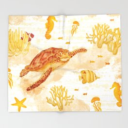 Hawksbill Sea Turtles Throw Blanket