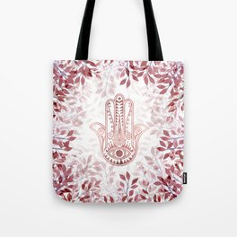 Modern burgundy faux rose gold Hamsa Hand of Fatima floral Tote Bag