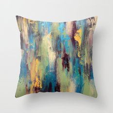 Palette Knife Paint - Green, purple and blue Throw Pillow