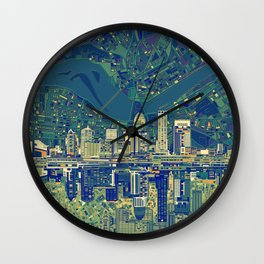 louisville city skyline green Wall Clock