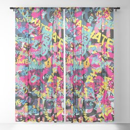 Love and Hate Typographic Pop Art Sheer Curtain