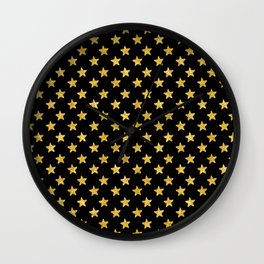 Chic Glam Gold and Black Stars Wall Clock