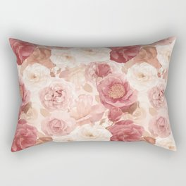 seamless   pattern with roses and leaves . Endless texture Rectangular Pillow