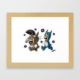 Super Totoro Bros. Alternative Framed Art Print