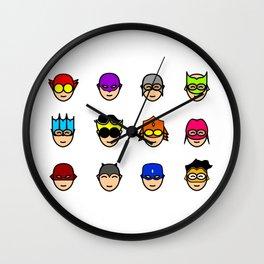 Teen Superhero Faces Wall Clock