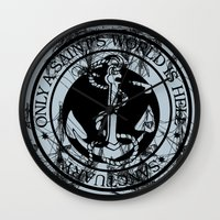 marine Wall Clocks featuring Marine by CottonMouth