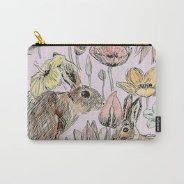 rabbits and flowers with color Carry-All Pouch