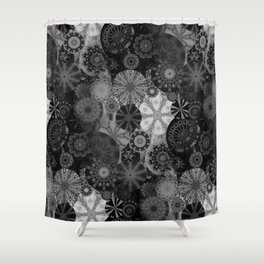 Fancy Sunset Silhouette on a grey day Shower Curtain