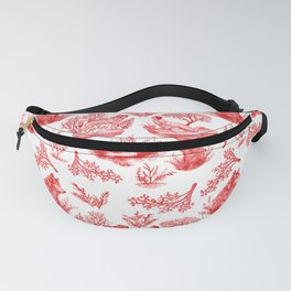 """""""I'm Still an Animal"""" Toile (Red & White) Fanny Pack"""