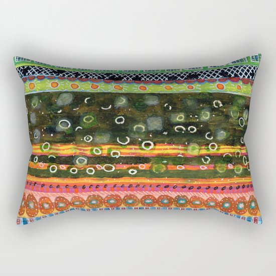 Absorbed Rings with Vertical Stripes Pattern Rectangular Pillow