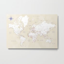 "Cream, white, red and navy blue world map, ""Deuce"" Metal Print"