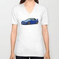subaru V-neck T-shirts featuring Subaru Impreza 22B STI Type UK Sonic Blue by Digital Car Art
